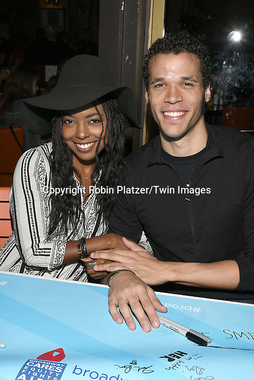 Adrienne Warren and Jordan Donica attends the Broadway Cares/Equity Fights Aids Flea Market and Grand Auction on September 25, 2016 at the Music Box Theatre and in Shubert Ally in New York, New York, USA. <br /> <br /> photo by Robin Platzer/Twin Images<br />  <br /> phone number 212-935-0770