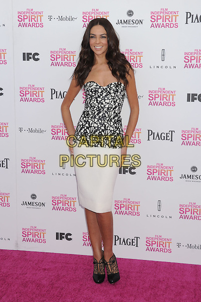 Terri Seymour.2013 Film Independent Spirit Awards - Arrivals Held At Santa Monica Beach, Santa Monica, California, USA,.23rd February 2013..indy indie indies indys full length white black top corset strapless print skirt hand on hip lace ankle boots shoes shooboots .CAP/ROT/TM.©Tony Michaels/Roth Stock/Capital Pictures