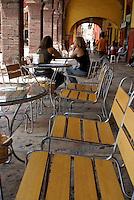 Outdoor restaurant cafe  in San Miguel de Allende, Mexico. San Miguel de Allende is a UNESCO World Heritage Site....