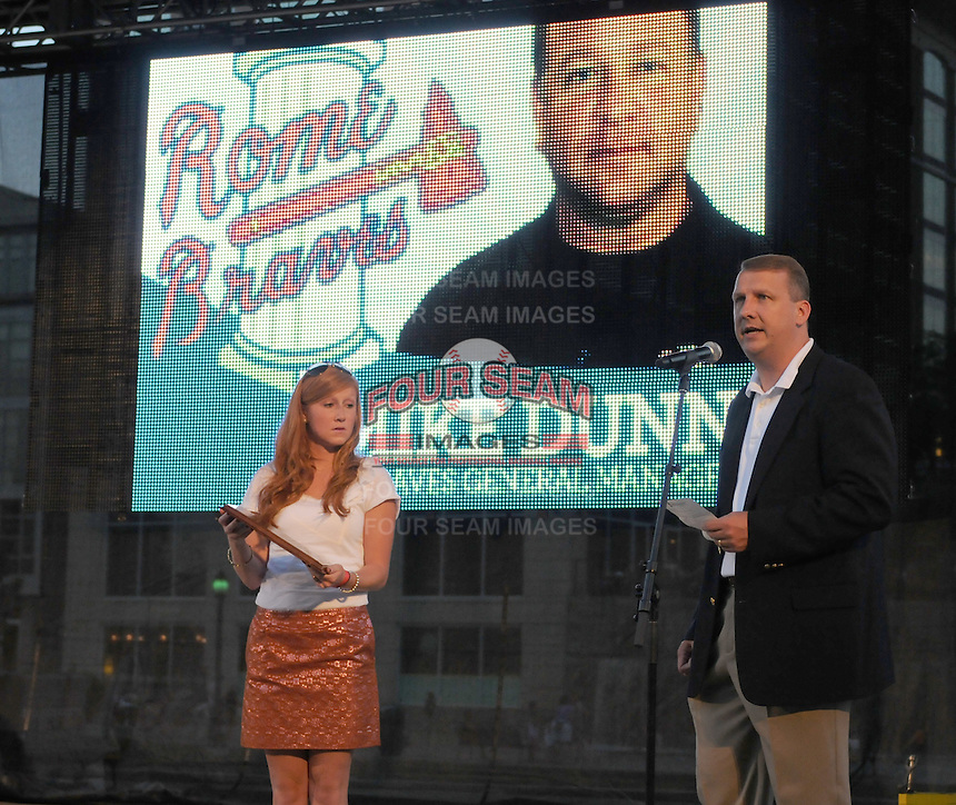 League president Eric Krupa introduces Hall of Fame inductee Mike Dunn at the 2010 South Atlantic League All-Star Game welcome party and festivities Monday night June 21, 2010, at the Wyche Pavilion along the Reedy River in Greenville, S.C. Photo by: Tom Priddy/Four Seam Images