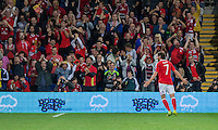 Joe Allen of Wales celebrates scoring his side's second goal during the FIFA World Cup Qualifier match between Wales and Moldova at Cardiff City Stadium, Cardiff, Wales on 5 September 2016. Photo by Mark  Hawkins.