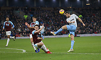 West Ham United's Andy Carroll with a second half shot blocked by Burnley's James Tarkowski and Ashley Westwood<br /> <br /> Photographer Rob Newell/CameraSport<br /> <br /> The Premier League - Burnley v West Ham United - Sunday 30th December 2018 - Turf Moor - Burnley<br /> <br /> World Copyright © 2018 CameraSport. All rights reserved. 43 Linden Ave. Countesthorpe. Leicester. England. LE8 5PG - Tel: +44 (0) 116 277 4147 - admin@camerasport.com - www.camerasport.com