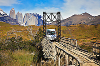This bridge over the Paine River In Torres del Paine, Chile is a tight fit for the passenger vans that cross.