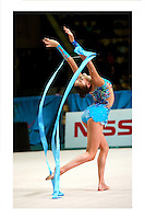 """Evgenia Kanaeva of Russia releases with ribbon during seniors All-Around at 2007 World Cup Kiev, """"Deriugina Cup"""" in Kiev, Ukraine on March 17, 2007."""