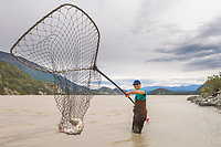 Dipnetting for subsistence harvest of salmon in the Copper River, Interior, Alaska
