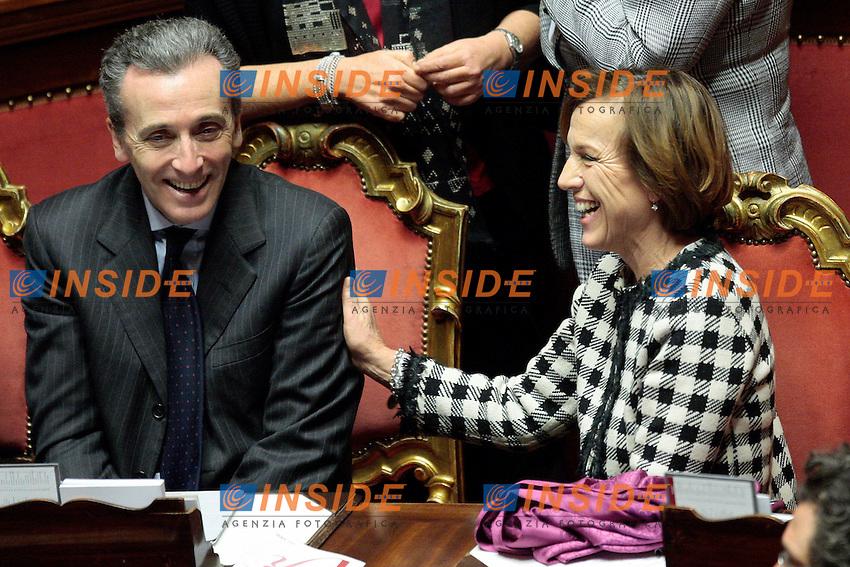 Elsa Fornero e Vittorio Grilli.Roma 20/12/2012 Senato. voto di fiducia sulla legge di stabilita'..Photo Samantha Zucchi Insidefoto