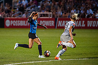 Kansas City, MO - Saturday July 22, 2017: Shea Groom, Abby Dahlkemper during a regular season National Women's Soccer League (NWSL) match between FC Kansas City and the North Carolina Courage at Children's Mercy Victory Field.
