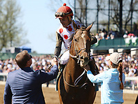 LEXINGTON, KY - April 08, 2017, #9 Awesome Slew and jockey Joel Rosario after winning the 31st running of The Commonwealth Grade 3 $250,000 for owner Live Oak PLantation and trainer Mark Casse at Keeneland Race Course.  Lexington, Kentucky. (Photo by Candice Chavez/Eclipse Sportswire/Getty Images)