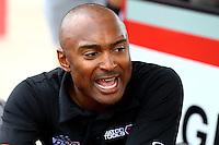 Apr 24, 2015; Baytown, TX, USA; NHRA  top fuel driver Antron Brown during qualifying for the Spring Nationals at Royal Purple Raceway. Mandatory Credit: Mark J. Rebilas-