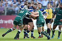 Victor Delmas of Bath Rugby takes on the London Irish defence. Aviva Premiership match, between Bath Rugby and London Irish on May 5, 2018 at the Recreation Ground in Bath, England. Photo by: Patrick Khachfe / Onside Images