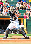 15 July 2010: Vermont Lake Monsters' catcher David Freitas in action against the Aberdeen IronBirds at Centennial Field in Burlington, Vermont. The Lake Monsters rallied in the bottom of the 9th inning to defeat the IronBirds 7-6 notching their league leading 20th win of the 2010 NY Penn League season. Mandatory Credit: Ed Wolfstein Photo