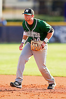 Manhattan Jaspers first baseman Kyle Murphy #10 on defense against the High Point Panthers at Willard Stadium on March 9, 2012 in High Point, North Carolina.  The Panthers defeated the Jaspers 11-6.  (Brian Westerholt/Four Seam Images)