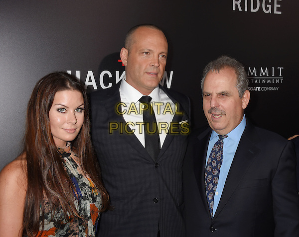 BEVERLY HILLS, CA - OCTOBER 24: (L-R)  Kyla Weber, actor Vince Vaughn and producer Bill Mechanic attend the screening of Summit Entertainment's 'Hacksaw Ridge' at Samuel Goldwyn Theater on October 24, 2016 in Beverly Hills, California.<br /> CAP/ROT/TM<br /> &copy;TM/ROT/Capital Pictures