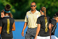 27 August 2011:  FIU Women's Soccer Head Coach Thomas Chestnutt speaks with his players prior to the match.  The FIU Golden Panthers defeated the University of Arkon Zips, 1-0, at University Park Stadium in Miami, Florida.