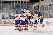 Rochester Amerks players including Frederick Roy (91), Drew Bagnall (4), Nick Tuzzolino (45), and Matt MacKenzie (47) celebrate after Matt Ellis (37 - hidden) game winning shootout goal during the The Frozen Frontier outdoor AHL game against the Lake Erie Monsters at Frontier Field on December 13, 2013 in Rochester, New York.  (Copyright Mike Janes Photography)