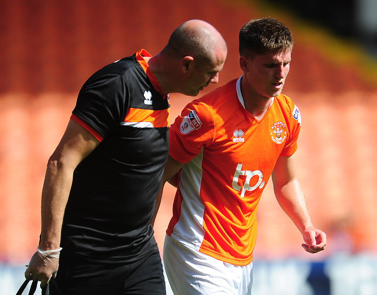 Blackpool's Daniel Philliskirk leaves the field due to injury<br /> <br /> Photographer Kevin Barnes/CameraSport<br /> <br /> Football - The EFL Sky Bet League Two - Blackpool v Exeter City - Saturday 6th August 2016 - Bloomfield Road - Blackpool<br /> <br /> World Copyright © 2016 CameraSport. All rights reserved. 43 Linden Ave. Countesthorpe. Leicester. England. LE8 5PG - Tel: +44 (0) 116 277 4147 - admin@camerasport.com - www.camerasport.com