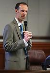 Nevada Sen. Justin Jones, D-Las Vegas, speaks on the Senate floor at the Legislative Building in Carson City, Nev., on Wednesday, May 22, 2013. <br /> Photo by Cathleen Allison