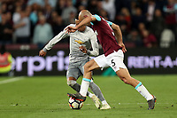 Jesse Lingard of Manchester United and Pablo Zabaleta of West Ham United during West Ham United vs Manchester United, Premier League Football at The London Stadium on 10th May 2018