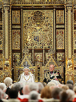 18 May 2016 - London England - Queen Elizabeth II and Prince Philip, Duke of Edinburgh look on in the House of Lords ahead of the Queen's Speech at the State Opening of Parliament in the Houses of Parliament in London. The State Opening of Parliament marks the formal start of the parliamentary year and the Queen's Speech sets out the government's agenda for the coming session. Photo Credit: ALPR/AdMedia