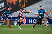 March 14th 2020, Eden Park, Auckland, New Zealand;  Lions captain Elton Jantjies passes along his line during the Super Rugby match between the Blues and the Lions, held at Eden Park, Auckland, New Zealand.
