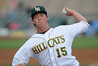 Starting pitcher Matt Crim (15) of the Lynchburg Hillcats, Carolina League affiliate of the Atlanta Braves, prior to a game against the Wilmington Blue Rocks on June 15, 2011, at City Stadium in Lynchburg, Va. (Tom Priddy/Four Seam Images)