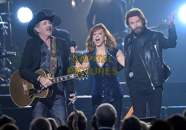 04 November 2015 - Nashville, Tennessee - Kix Brooks, Reba McEntire, Ronnie Dunn, Brooks &amp; Dunn. 49th Annual CMA Awards, CMA Awards 2015, Country Music's Biggest Night, held at Bridgestone Arena. Photo Credit: AdMedia<br /> CAP/ADM/LF<br /> &copy;LF/ADM/Capital Pictures