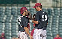 Hawgs Illustrated/BEN GOFF <br /> Zack Plunkett, gray team catcher, confers with Jackson Rutledge, gray team freshman pitcher, Wednesday, Oct. 11, 2017, during the Arkansas baseball Fall World Series scrimmage at Baum Stadium in Fayetteville.