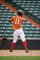 Luis De La Cruz (11) at bat during the Dominican Prospect League Elite Underclass International Series, powered by Baseball Factory, on July 21, 2018 at Schaumburg Boomers Stadium in Schaumburg, Illinois.  (Mike Janes/Four Seam Images)