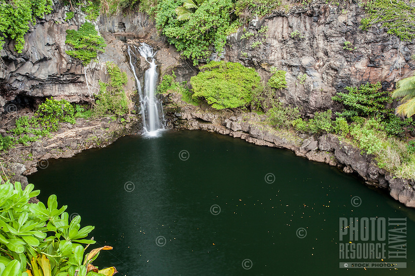A waterfall and pool at Seven Sacred Pools (or 'Ohe'o Gulch), Haleakala National Park, Maui.