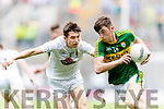 David Shaw Kerry in action against Danny O'Sullivan Kildare in the All Ireland Minor Football Semi Final at Croke Park on Sunday.