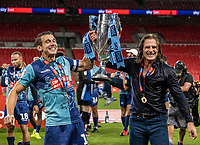 Wycombe Wanderers' Matthew Bloomfield celebrates with manager Gareth Ainsworth <br /> <br /> Photographer Andrew Kearns/CameraSport<br /> <br /> Sky Bet League One Play Off Final - Oxford United v Wycombe Wanderers - Monday July 13th 2020 - Wembley Stadium - London<br /> <br /> World Copyright © 2020 CameraSport. All rights reserved. 43 Linden Ave. Countesthorpe. Leicester. England. LE8 5PG - Tel: +44 (0) 116 277 4147 - admin@camerasport.com - www.camerasport.com