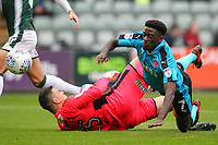 Plymouth Argyle's goalkeeper Kyle Letheren comes out to meet a shot from Fleetwood Town's Jordy Hiwula<br /> <br /> Photographer Andrew Kearns/CameraSport<br /> <br /> The EFL Sky Bet League One - Plymouth Argyle v Fleetwood Town - Saturday 7th October 2017 - Home Park - Plymouth<br /> <br /> World Copyright &copy; 2017 CameraSport. All rights reserved. 43 Linden Ave. Countesthorpe. Leicester. England. LE8 5PG - Tel: +44 (0) 116 277 4147 - admin@camerasport.com - www.camerasport.com