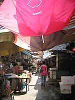 Typical open-air market in Hong Kong