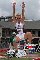 Texas A&M junior Jena Hemann (Breese Il. Breese Central HS) nears the sandpit in the long jump of the heptathlon at the 2014 NCAA Division I Outdoor Track and Field Championships, Friday, June 13, in Eugene, Or. Hemann finished with a best jump of 18-5 to finish 13th in the event, and finished the heptathlon with a total of 5410 points to take 14th, as the Aggies won the national team title.