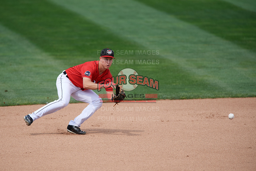 Erie SeaWolves shortstop A.J. Simcox (10) fields a ground ball during a game against the Hartford Yard Goats on August 6, 2017 at UPMC Park in Erie, Pennsylvania.  Erie defeated Hartford 9-5.  (Mike Janes/Four Seam Images)