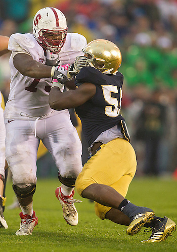 October 13, 2012:  Notre Dame outside linebacker Prince Shembo (55) and during NCAA Football game action between the Notre Dame Fighting Irish and the Stanford Cardinal at Notre Dame Stadium in South Bend, Indiana.  Notre Dame defeated Stanford 20-13.