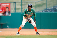 Greensboro Grasshoppers second baseman Jose Devers (2) leads off first base during a game against the Lakewood BlueClaws on June 10, 2018 at First National Bank Field in Greensboro, North Carolina.  Lakewood defeated Greensboro 2-0.  (Mike Janes/Four Seam Images)