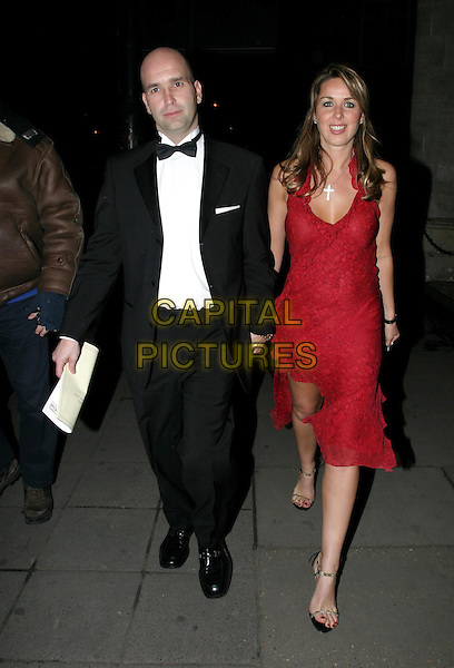 CLAIRE SWEENEY.The Tio Pepe/Carlton London Restaurant Awards 2004.Grosvenor House.08 March 2004.full length, full-length, red halterneck dress, strappy sandals, shoes, silver handbag.www.capitalpictures.com.sales@capitalpictures.com.© Capital Pictures.