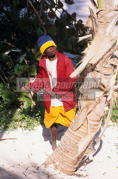 Iles Bahamas /Ile d'Eleuthera/Harbour Island/Dunmore Town: enfant jouant prés de la plage de Pink Sand