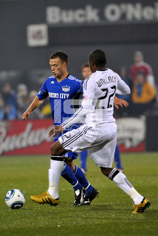 Jack Jewsbury (blue). Rodney Wallace...Kansas City Wizards defeated DC United 4-0 in their season opener, at Community America Ballpark in Kansas City, Kansas.