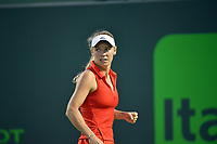 www.acepixs.com<br /> <br /> March 23 2017, Key Biscayne<br /> <br /> Caroline Wozniacki of Denmark in action against Varvari Lepchenko of USA at Crandon Park Tennis Center on March 23, 2017 in Key Biscayne, Florida.<br /> <br /> By Line: Solar/ACE Pictures<br /> <br /> ACE Pictures Inc<br /> Tel: 6467670430<br /> Email: info@acepixs.com<br /> www.acepixs.com