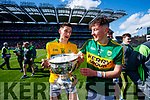 Nelu O'Doherty and Sean O'Leary Kerry Minors celebrate with the Tom Markham Cup after defeating Derry in the All-Ireland Minor Footballl Final in Croke Park on Sunday.