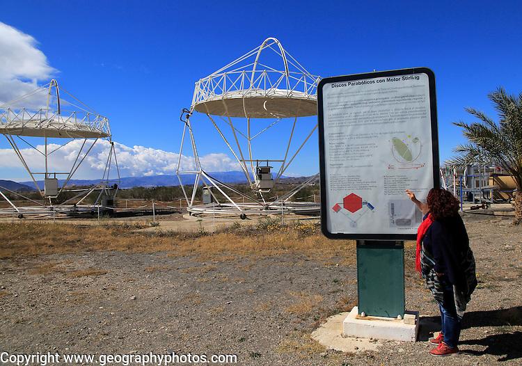 Parabolic disc heliostats at the solar energy scientific research centre, Tabernas, Almeria, Spain