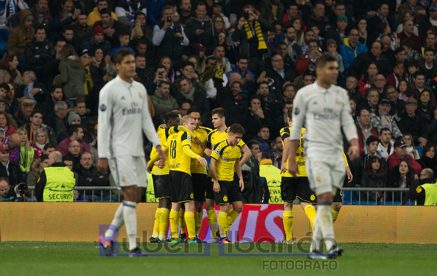 Borussia Dortmund players celebrating  during the UEFA Champions League match between Real Madrid and Borussia Dortmund at the Santiago Bernabeu Stadium in Madrid, Tuesday, December 7, 2016.