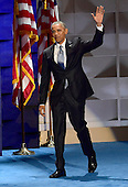 United States President Barack Obama arrives to make remarks during the third session of the 2016 Democratic National Convention at the Wells Fargo Center in Philadelphia, Pennsylvania on Wednesday, July 27, 2016.<br /> Credit: Ron Sachs / CNP<br /> (RESTRICTION: NO New York or New Jersey Newspapers or newspapers within a 75 mile radius of New York City)