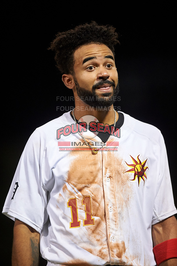 Mesa Solar Sox center fielder Derek Hill (11), of the Detroit Tigers organization, between innings of an Arizona Fall League game against the Scottsdale Scorpions on September 18, 2019 at Sloan Park in Mesa, Arizona. Scottsdale defeated Mesa 5-4. (Zachary Lucy/Four Seam Images)