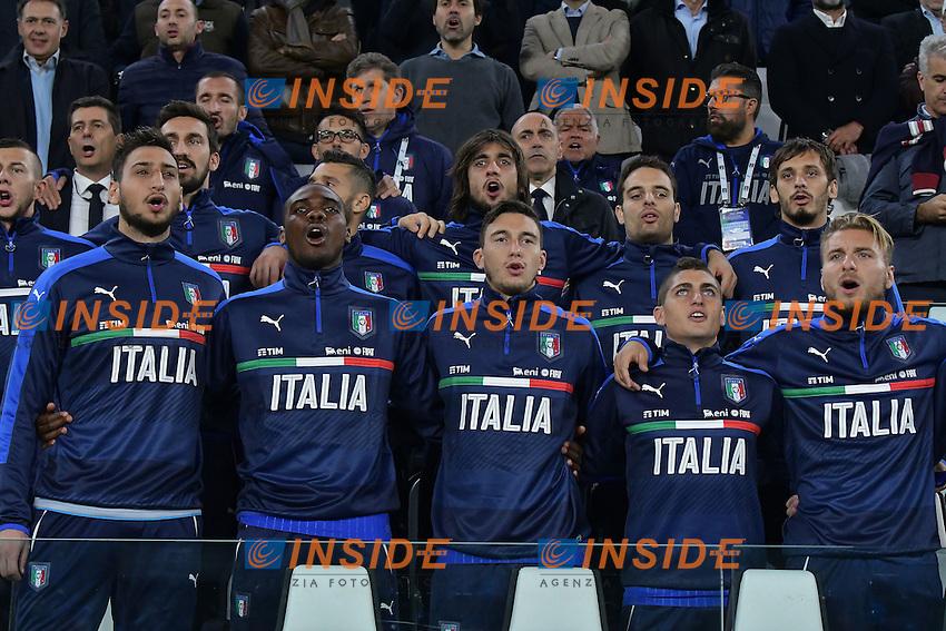 La panchina dell'Italia durante l'inno di Mameli <br /> Torino 06-10-2016 Juventus Stadium <br /> World Cup Qualifiers Italy - Spain / Italia - Spagna. Foto Andrea Staccioli / Insidefoto