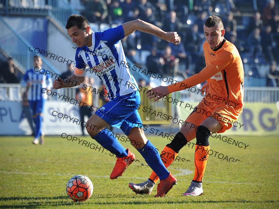 Fudbal Jelen Super League season 2016-2017<br /> Novi Pazar v Spartak<br /> Enver Alivodic (L) i Nikola Kovacevic (D)<br /> Novi Pazar, 4. 12. 2016<br /> foto: Emir Sadovic/Starsportphoto &copy;