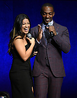 LAS VEGAS, NV - APRIL 23: Actors Gina Rodriguez and Anthony Mackie onstage at the Sony Pictures Entertainment presentation at CinemaCon 2018 at The Colosseum at Caesars Palace on April 23, 2018 in Las Vegas, Nevada. (Photo by Frank Micelotta/PictureGroup)