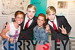 Kerry's Eye 'Meet and Greet' winners, twins Sarah and Laura Murphy  meeting Jedward at the back stage at Denny Street stage in the Kerry County Museum on Friday.